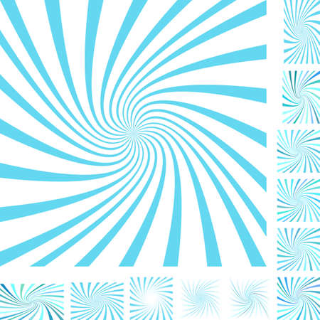 hypnose: Cyan and white vector spiral design background set. Different color, gradient, screen, paper size versions. Illustration