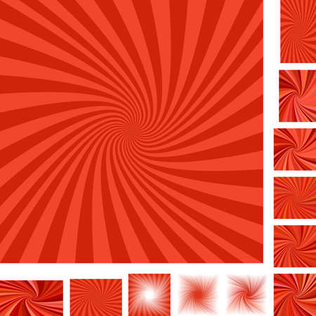 converge: Red vector spiral design background set. Different color, gradient, screen, paper size versions.