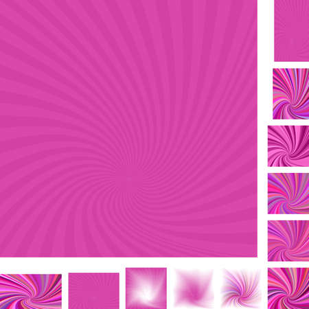 hypnose: Magenta vector spiral design background set. Different color, gradient, screen, paper size versions.