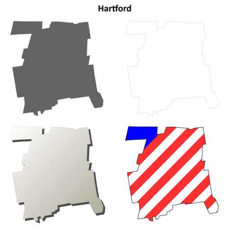 hartford: Hartford County, Connecticut blank outline map set