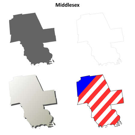 coastlines: Middlesex County, Connecticut blank outline map set