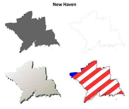 New Haven County, Connecticut blank outline map set 向量圖像