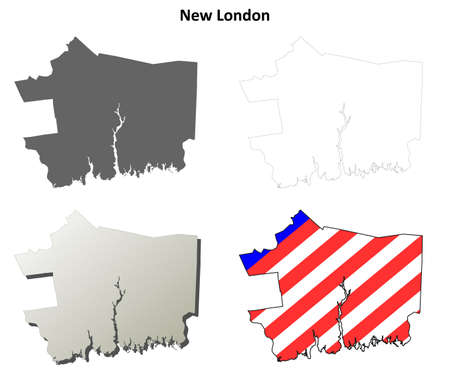 New London County, Connecticut blank outline map set 向量圖像