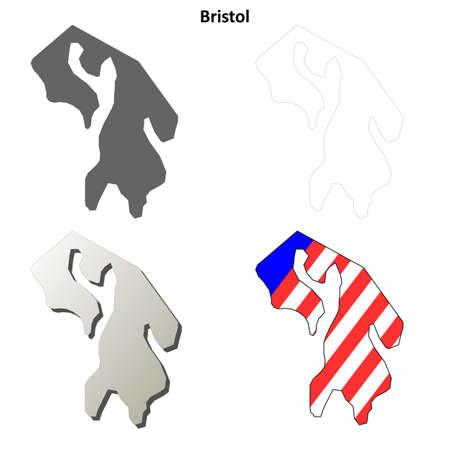 bristol: Bristol County, Rhode Island blank outline map set