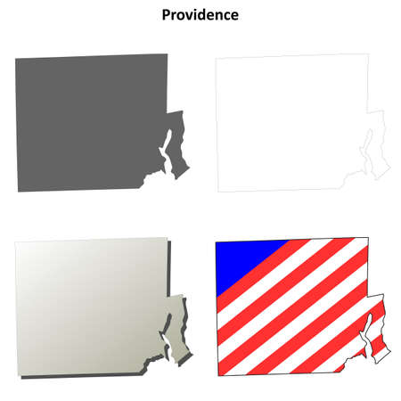 providence: Providence County, Rhode Island blank outline map set Illustration