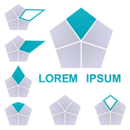 pentagon: Cyan and grey pentagon vector. Pentagon icon symbol design template set.