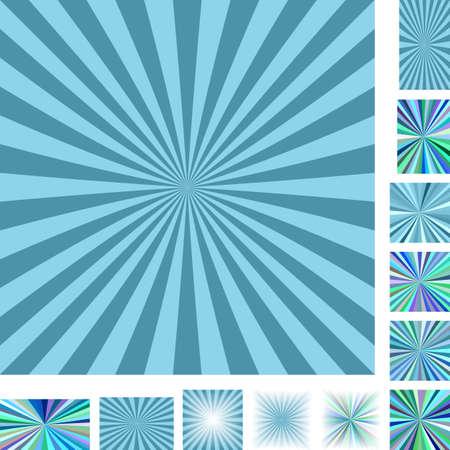 hypnose: Retro light blue vector ray burst design background set. Different color, gradient, screen, paper size versions. Illustration
