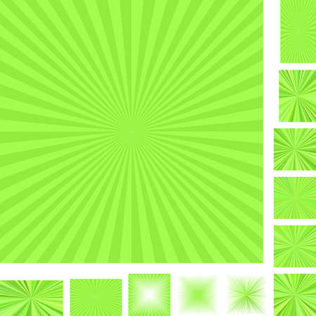 light backround: Retro light green vector ray burst design background set. Different color, gradient, screen, paper size versions.