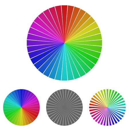 Arcobaleno ruota logo vettoriale. Icona della rotella modello di design simbolo impostata per i concetti di colore, gamma di colori, felicità.