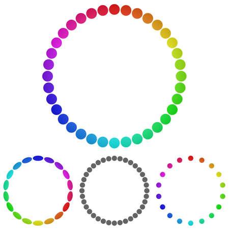 rainbow circle: Rainbow circle logo vector. Circle icon symbol design template set for ring, wheel concepts. Illustration