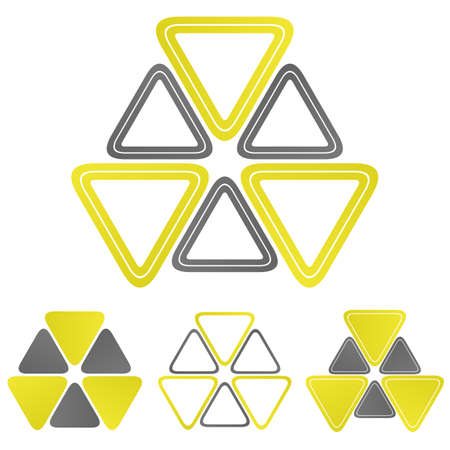 radium: Nuclear triangle logo vector. Nuclear icon symbol design template set for biohazard, chemical, radioactive, power concepts.