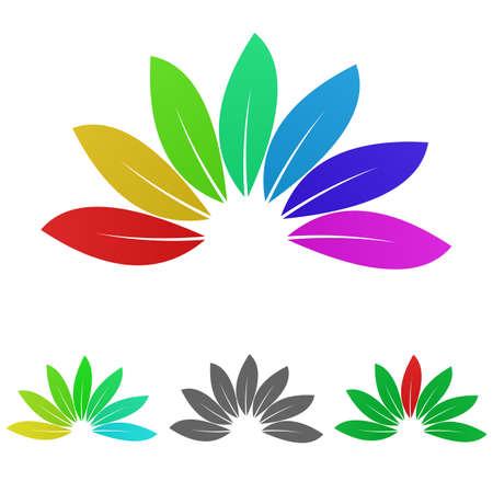 enviroment: Colorful nature logo vector. Nature icon symbol design template set for plant, leaves, garden, enviroment, biology concepts. Illustration