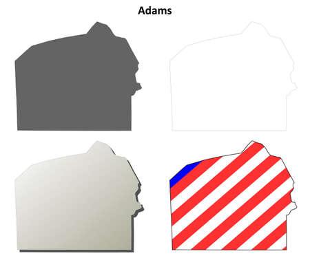 adams: Adams County, Pennsylvania blank outline map set