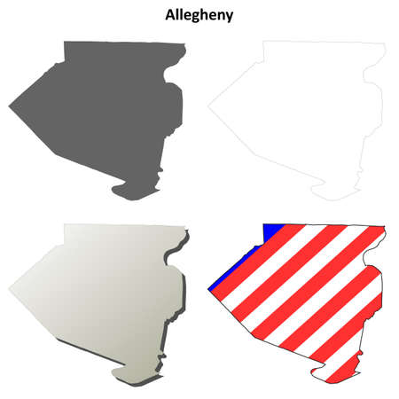 allegheny: Allegheny County, Pennsylvania blank outline map set Illustration