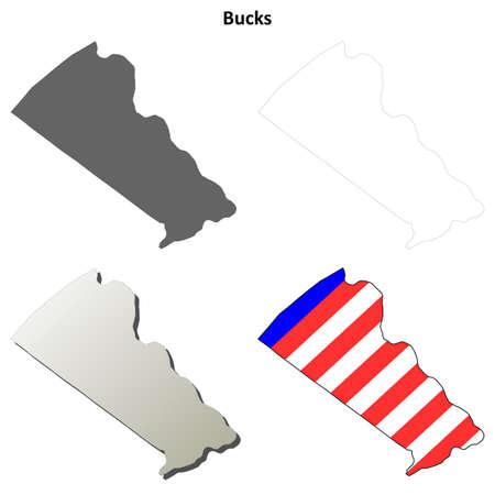 county: Bucks County, Pennsylvania blank outline map set