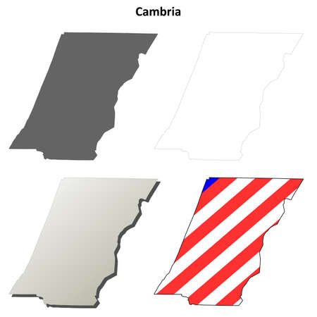 pennsylvania: Cambria County, Pennsylvania blank outline map set