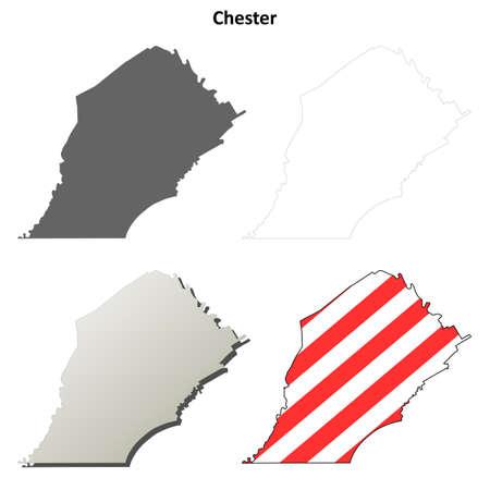 chester: Chester County, Pennsylvania blank outline map set