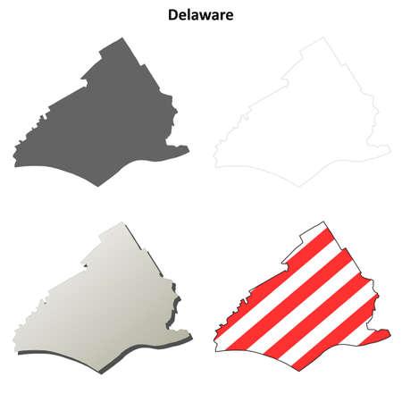 american media: Delaware County, Pennsylvania blank outline map set Illustration