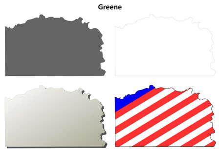 Greene County, Pennsylvania blank outline map set 向量圖像