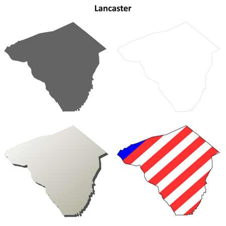 pennsylvania: Lancaster County, Pennsylvania blank outline map set Illustration