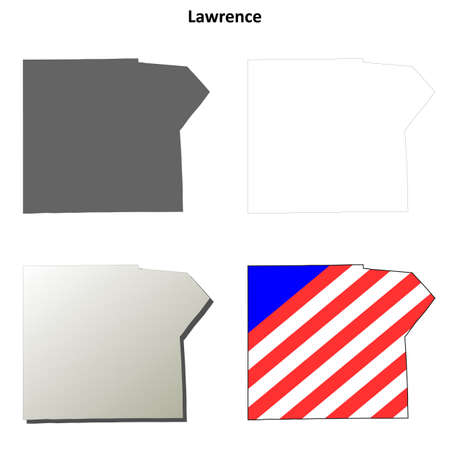 lawrence: Lawrence County, Pennsylvania blank outline map set Illustration