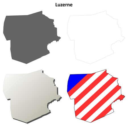 barre: Luzerne County, Pennsylvania blank outline map set