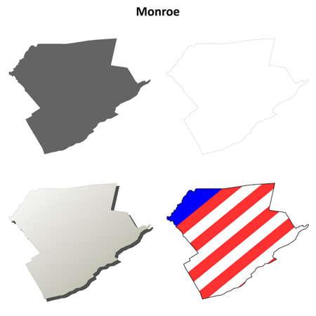 monroe: Monroe County, Pennsylvania blank outline map set