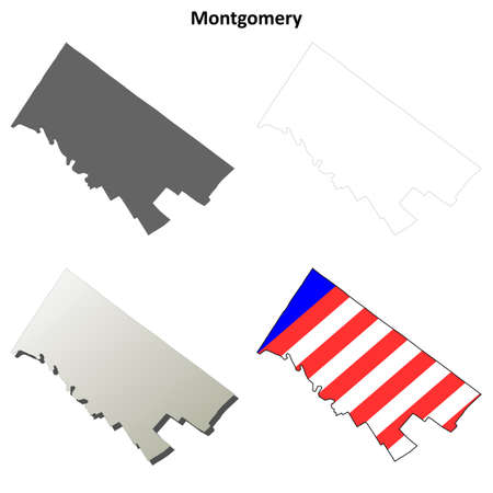 montgomery: Montgomery County, Pennsylvania blank outline map set Illustration