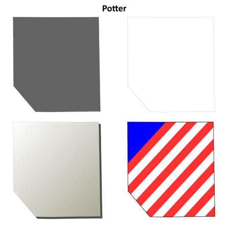 alfarero: Condado de Potter, Pennsylvania blanco conjunto contorno correspondencia Vectores