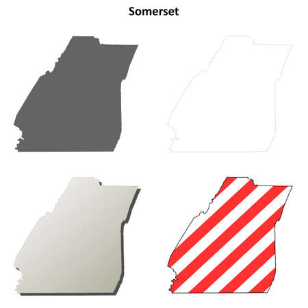 county somerset: Somerset County, Pennsylvania blank outline map set