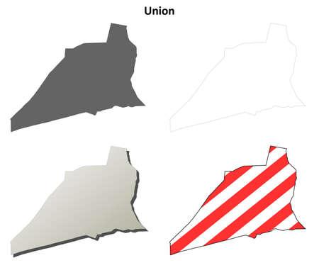 pennsylvania: Union County, Pennsylvania blank outline map set