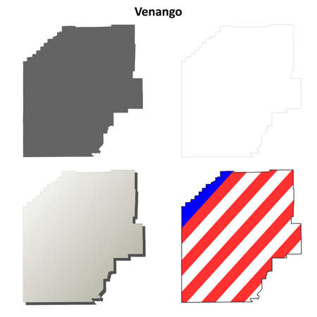 pennsylvania: Venango County, Pennsylvania blank outline map set Illustration