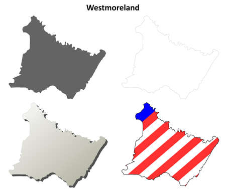 county: Westmoreland County, Pennsylvania blank outline map set