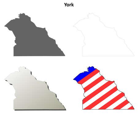 뉴욕 카운티, 펜실베니아 빈 개요지도 세트 일러스트