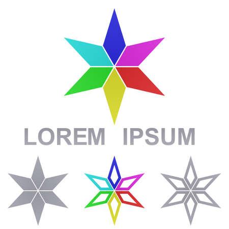 star icon: Multicolored star logo vector. Star icon symbol design template set.