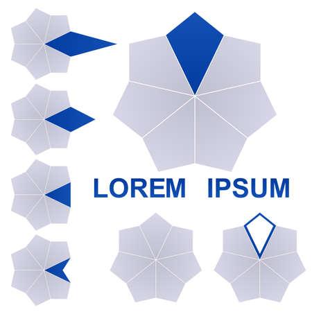 heptagon: Dark blue and grey polygon logo vector design set.