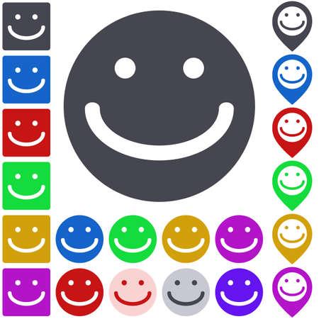 smile icon: Color smile icon, button, symbol set. Square, circle and pin versions.