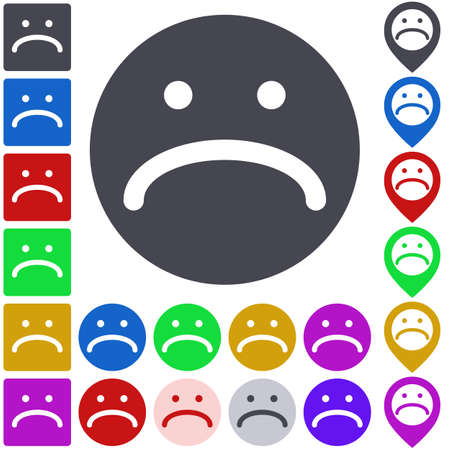 misery: Color unhappy icon, button, symbol set. Square, circle and pin versions.