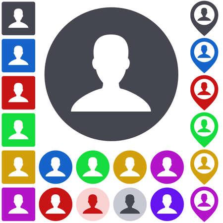 user icon: Color user icon, button, symbol set. Square, circle and pin versions. Illustration
