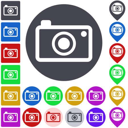 photocamera: Color camera icon, button, symbol set. Square, circle and pin versions. Illustration