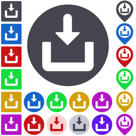 download icon: Color download icon, button, symbol set. Square, circle and pin versions.