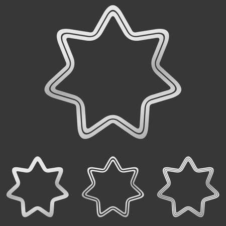 heptagon: Metallic silver line star