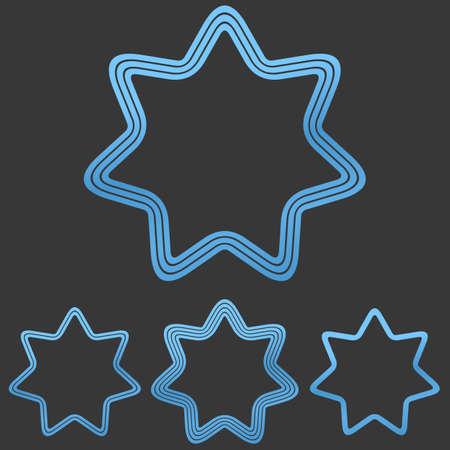 heptagon: Blue line star shape Illustration