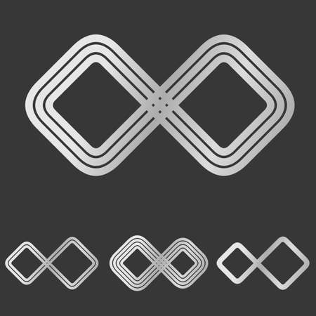 infinite loop: Silver line infinity symbol Illustration