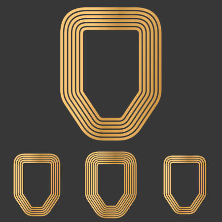 honour guard: Bronze defense symbol icon logo design set