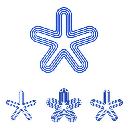 star logo: Blue vector line star logo design set Illustration