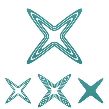 reject: Teal line reject symbol logo design set