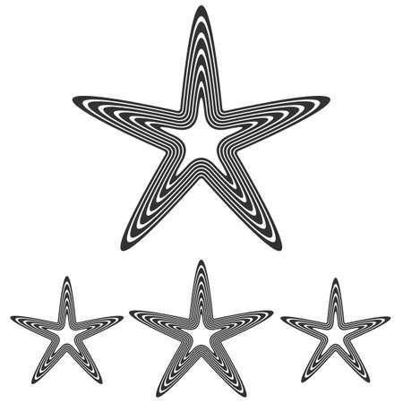 wicca: Line pentagram symbol star logo design set
