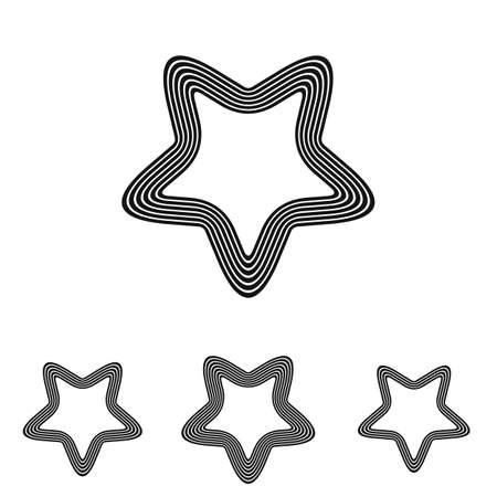 satanic: Black line satanic symbol logo design set