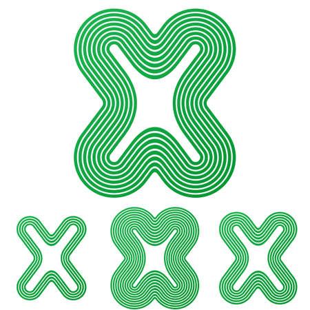 green line: Green line x letter logo design set